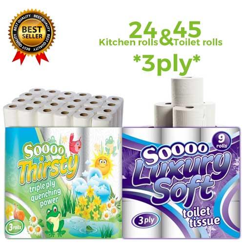 24 Kitchen Rolls 45 Toilet Rolls 3ply