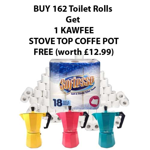 softesse toilet rolls and free kawfee coffee pot